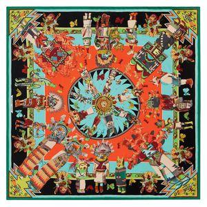 Soie hermès carré géant kachina en twill d'été