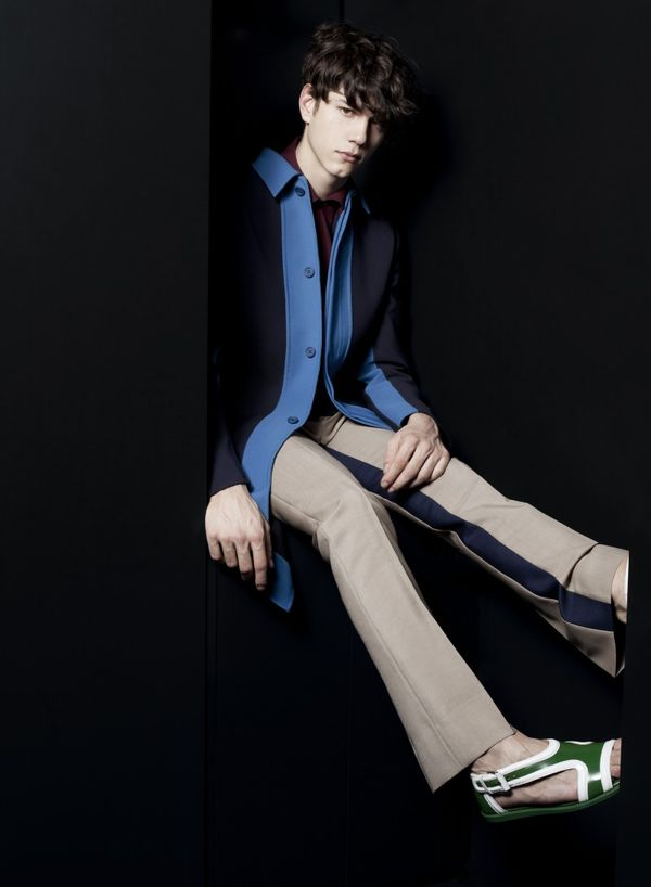 Prada men spring summer 2013 manteau bleu