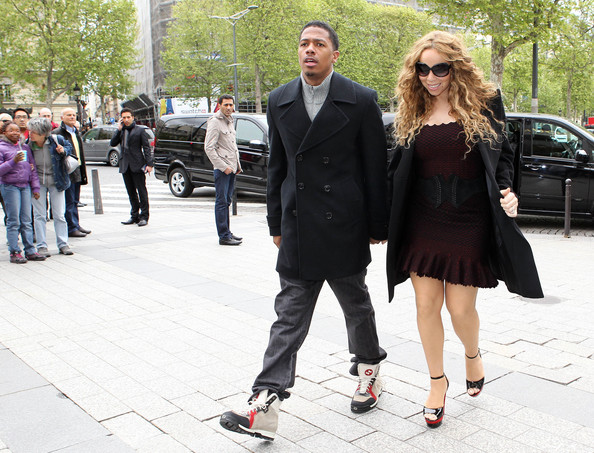 Mariah-Carey-Yves-Saint-Laurent-Cassyopee-black-patent-leather-ankle-strap-sandals-Nick-Cannon-Gucci-beige-suede-fur-shearling-hiking-boots-1