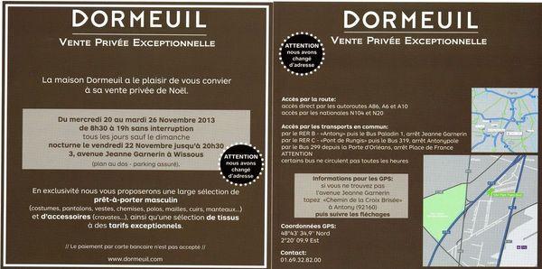 Invitation ventes privées Dormeuil scan